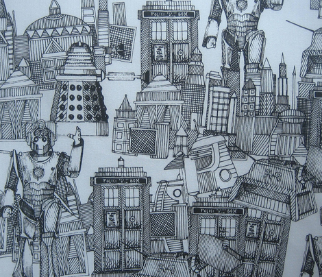 Doctor Who Toile de Jouy / Walking Doodle (black)