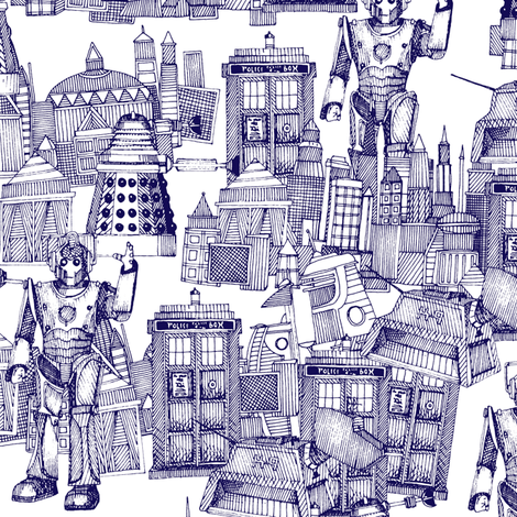 Doctor Who Toile de Jouy / Walking Doodle (blue) fabric by scrummy on Spoonflower - custom fabric