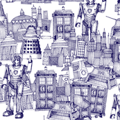 Doctor Who Toile de Jouy / Walking Doodle (blue)