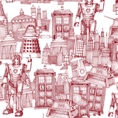 Doctor Who Toile de Jouy / Walking Doodle (red)