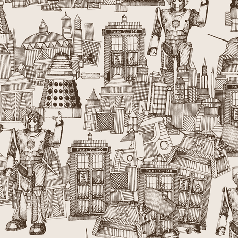 Doctor Who Toile de Jouy / Walking Doodle (sepia) fabric by scrummy on Spoonflower - custom fabric