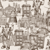 Doctor Who Toile de Jouy / Walking Doodle (sepia)