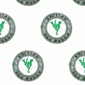 Vintage Printable British Sea Weed Emblem (gray and green)