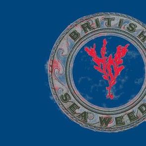 Vintage Printable British Sea Weed Emblem (navy,gray and red)