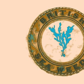 Vintage Printable British Sea Weed Emblem (Linen,tan and turquoise blue)-ch
