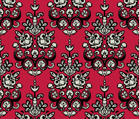 all fired up damask ikat fabric by scrummy on Spoonflower - custom fabric