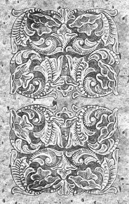 Black and White Vintage Tooled Leather Pattern Country Western