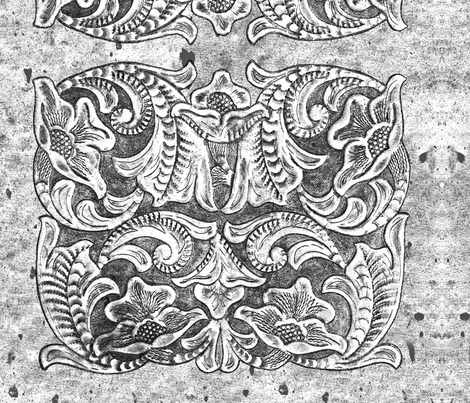 Black and White Vintage Tooled Leather Pattern Country Western fabric by theartfulhorse on Spoonflower - custom fabric