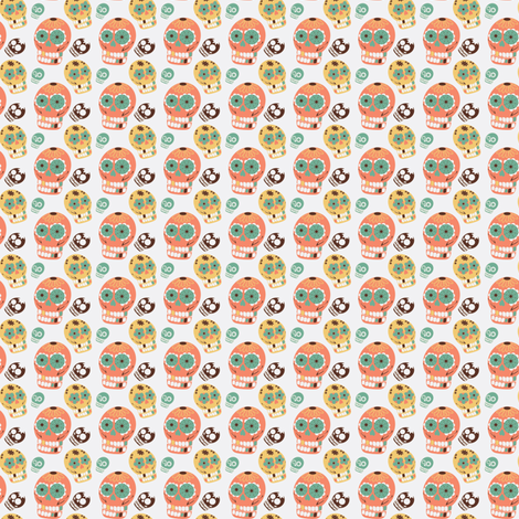 Pastel Sugar Skulls-ch fabric by ninja_dog_design on Spoonflower - custom fabric