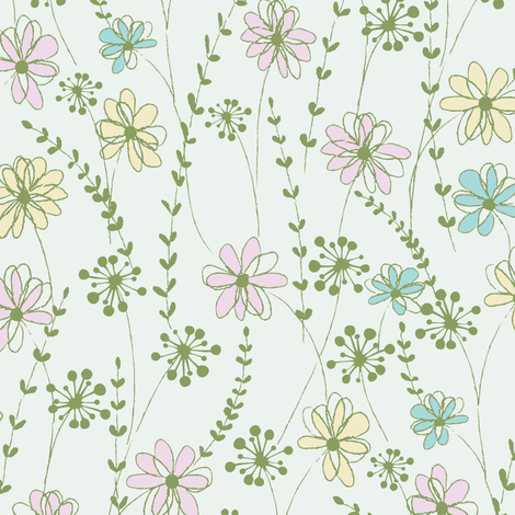 stitched flower_c1 fabric by paintedstudio on Spoonflower - custom fabric