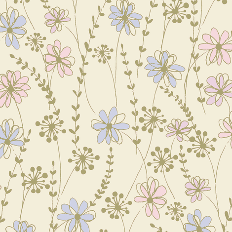 stitched flower_c2 fabric by paintedstudio on Spoonflower - custom fabric