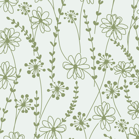 stitched flower monotone_c1 fabric by paintedstudio on Spoonflower - custom fabric