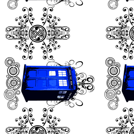 TARDIS TRAVELS BORDER fabric by fentonslee on Spoonflower - custom fabric