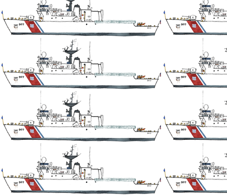 coast guard cutter ESCANABA fabric by bowsprite on Spoonflower - custom fabric