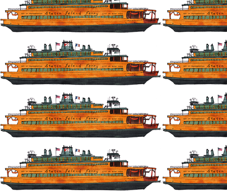 Staten Island Ferry John F. Kennedy fabric by bowsprite on Spoonflower - custom fabric