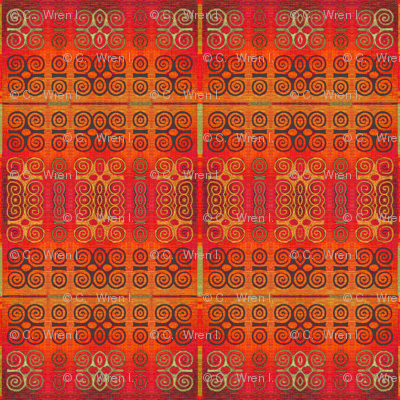 Ikat Adinkra Primitive in Orange