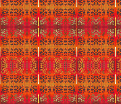 Ikat Adinkra Primitive in Orange fabric by wren_leyland on Spoonflower - custom fabric