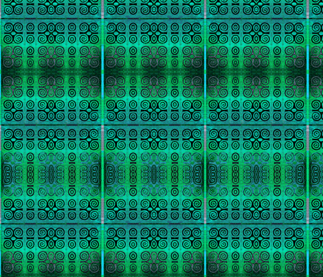 Ikat Adinkra Primitive in Turquoise fabric by wren_leyland on Spoonflower - custom fabric