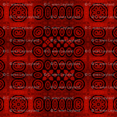 Ikat Crimson Red Primitive Weave