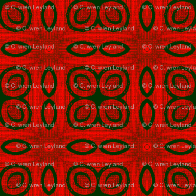 Ikat Green Rings and Fire Poppies