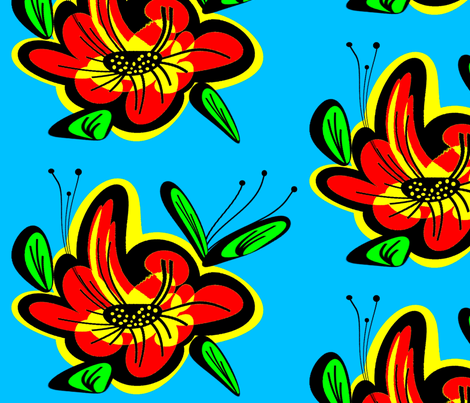 Flower55 fabric by retroretro on Spoonflower - custom fabric