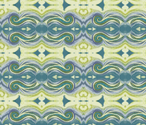 Greek Sea Stucco Swirls in Celery, Teal, Lavender fabric by wren_leyland on Spoonflower - custom fabric