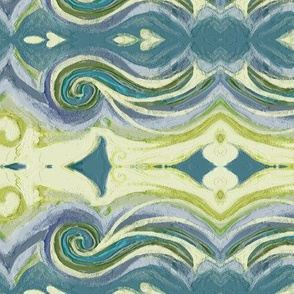 Greek Sea Stucco Swirls in Celery, Teal, Lavender