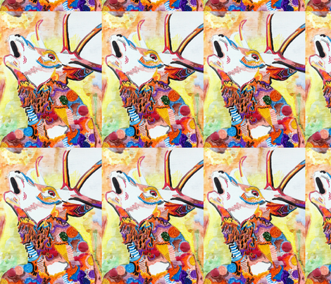 stag head fabric by fleaflea on Spoonflower - custom fabric