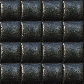 Square-quilted leather