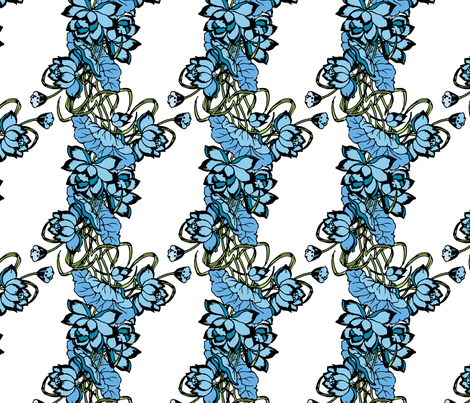 blue lotus fabric by lilbirdfly on Spoonflower - custom fabric