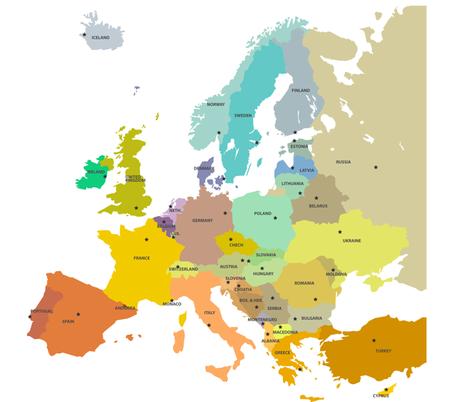 europe map fabric by ravynka on Spoonflower - custom fabric