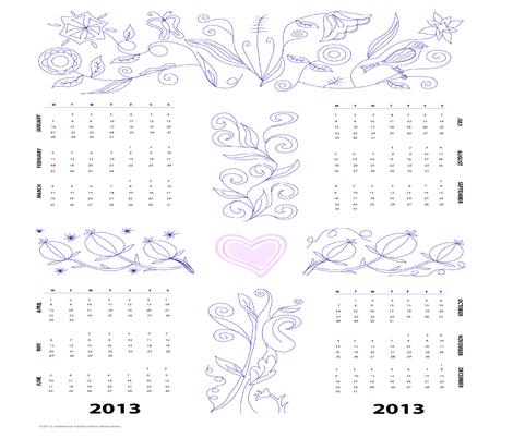 2013 Jacobean Calendar  fabric by waterrose on Spoonflower - custom fabric