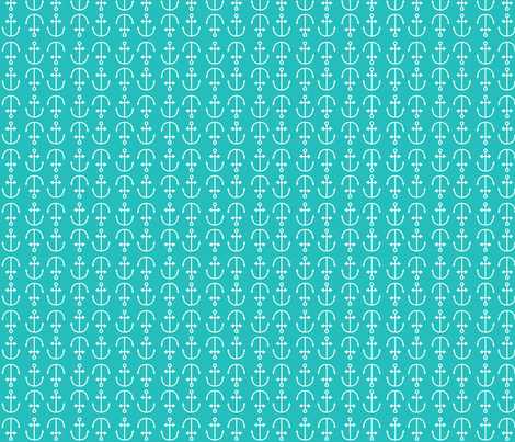 turquoise anchors fabric by annaboo on Spoonflower - custom fabric