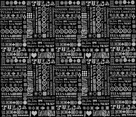 I Heart Tulsa Black & White fabric by tulsa_gal on Spoonflower - custom fabric