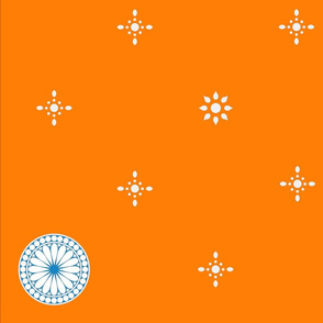 Starflakes and Roundels on Intense Orange