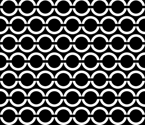 Unlinked Horizontal White on Black fabric by pond_ripple on Spoonflower - custom fabric