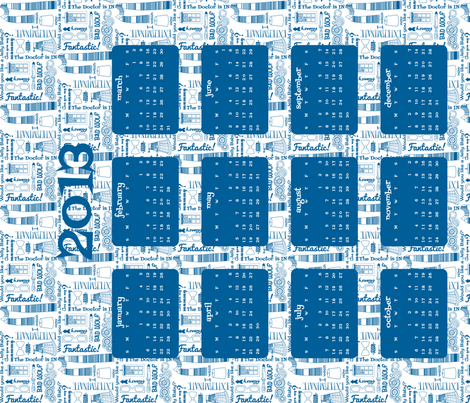 Tardis for Tea 2013 Tea Towel Calendar fabric by risarocksit on Spoonflower - custom fabric