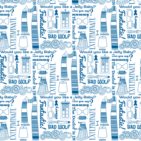 Doctor Who 50s Kitsch fabric by risarocksit on Spoonflower - custom fabric