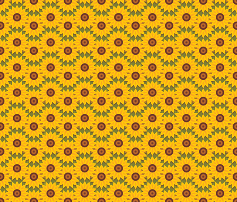 Golden Sunflowers fabric by jjtrends on Spoonflower - custom fabric