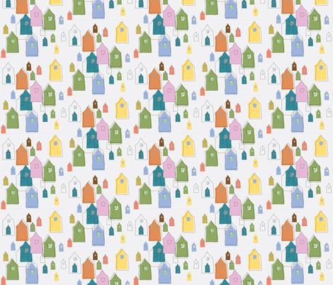 Houses_on_Cream-Small fabric by roxanne_lasky on Spoonflower - custom fabric