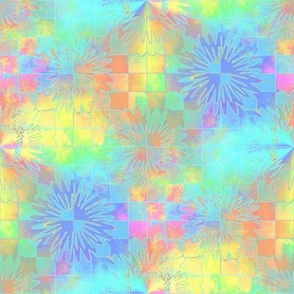 Pastel Checkerboard and Starbursts 8x8