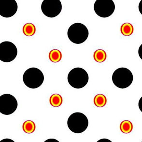Black and Orange Polka Dots-1 inch dots