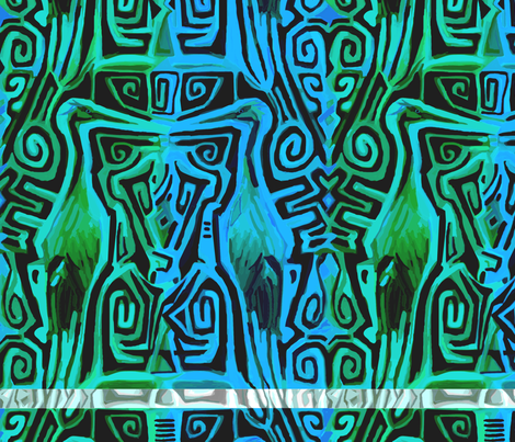 Matuku Cranes in Turquoise and Blue fabric by wren_leyland on Spoonflower - custom fabric