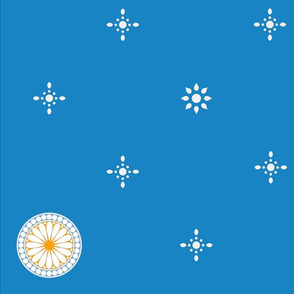 Silver Stars and petaled roundels on turquoise blue