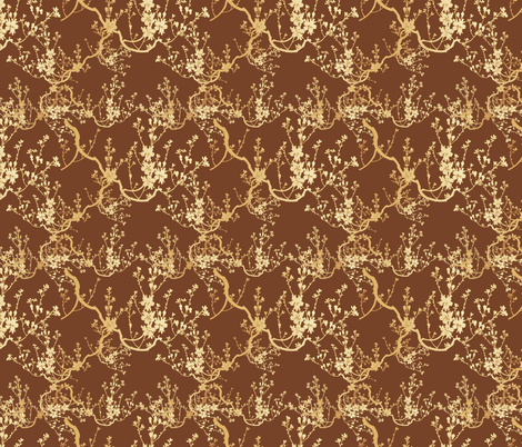 cherry blossom on rich brown fabric by kociara on Spoonflower - custom fabric