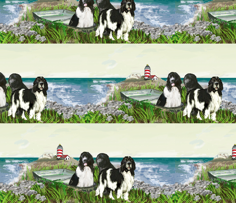 Three newfs and lighthouse seascape fabric and wallpaper