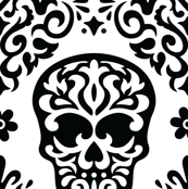Skull Diamond Black on White