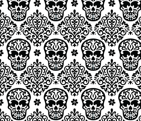 Skull Diamond Black on White fabric by mariafaithgarcia on Spoonflower - custom fabric