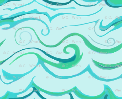 Waves in Turquoise, Mint and Teal