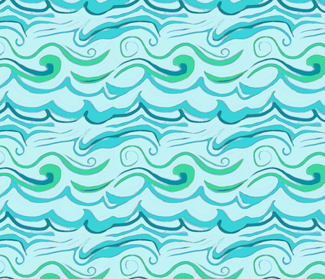 Waves in Turquoise, Mint and Cerulean fabric by wren_leyland on Spoonflower - custom fabric